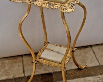 Antique French art nouveau Plant Stand Ornate Iron Marble Gold Gilt Cherubs Angels