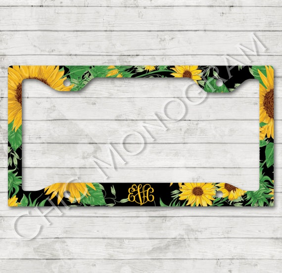 Sunflower License Plate Frame Monogrammed Sunflowers Floral License Plate Frame License Plate Holder Personalized Sweet 16 Gifts for Her