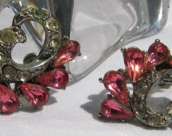 Wonderful 1940's Era Rhinestone Earrings, Pink Teardrops, Silver Screw Backs