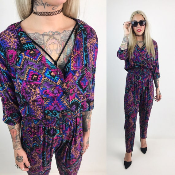 80's Printed Pants Jumpsuit Small/Medium - VTG Purple All Over Print Pants Jumper - Fly Girl Pants Outfit Fall Fashion Short Sleeve Pantsuit