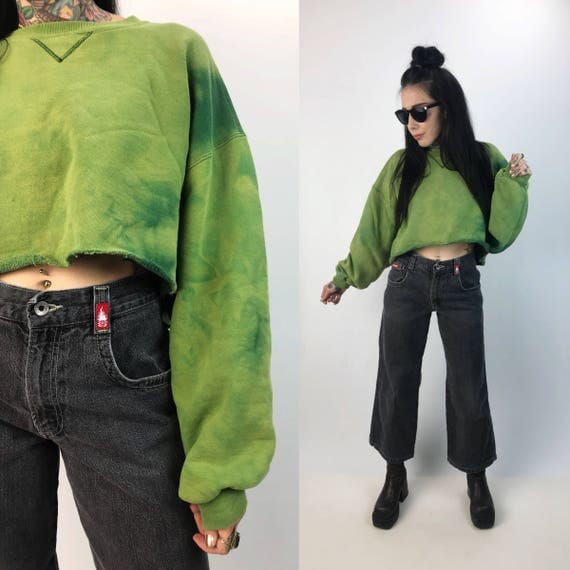 Green Tie Dye Cropped Crew Neck Sweatshirt Large - Two Tone Neon Bleached GRUNGE Slouchy Baggy Thick Cotton Long Sleeve Cropped Sweatshirt