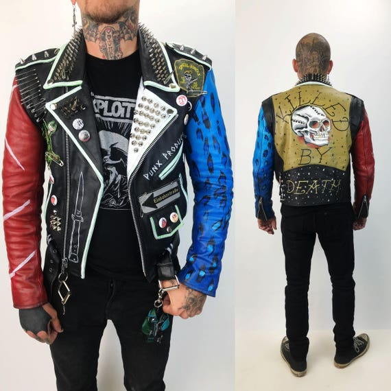 Vintage Spiked Leather Punk Jacket Mens Small 32 - Red Blue Black Painted Custom Skull Leopard Punk Rock - Leather DIY Patched Moto Jacket