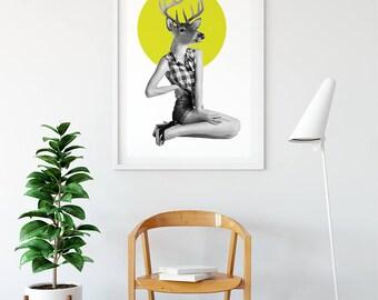 Deer Collage - Anthropomorphic Art - Fine Art Collage Print - Vintage Retro  HagaraStuff