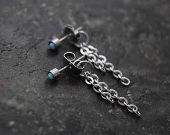3 or 5mm Light Blue Opal Bezel Set Stud 316L Surgical Steel Post Piercings Cartilage Lobe Jewelry Earrings
