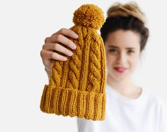 Hand Knit Beanie in Mustard Yellow, Cable Knit Womens Winter Hat with Pom Pom, Unisex Ski Hat, Mens Wool Hat, Custom Color