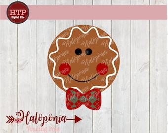 Holiday Gingerbread Boy Face  with Bowtie SVG File