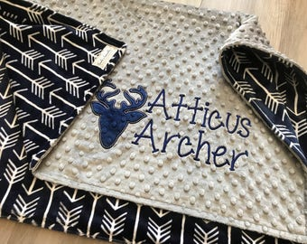 Navy Arrows Double Sided Minky Baby Blanket, SALE!