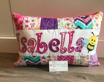 Busy Bee and butterfly children's pillow case with name. 12x18 inch