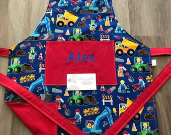 Construction trucks blue kids apron, personalized