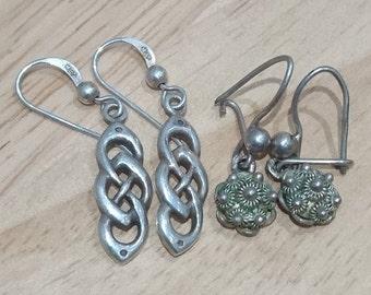 Two pairs of vintage sterling silver earrings