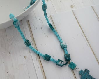 Bible jewelry necklace, Turquoise Beads, Wood Cross Jewelry, Christian Jewelry, Christian Necklace, Necklace For Women, Bohemian necklace