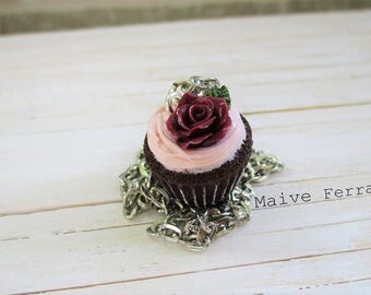 Chocolate Cupcake Necklace, Cute Miniature Food, Polymer Clay Jewelry Accessories Handmade