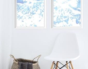 Set of 2 Pastel Ocean Painting - Sea Painting - Printable Wall Art - Water Poster - Instant Download Printable Art - Crashing Wave Minimal