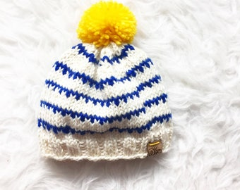 Knitted Striped Baby Beanie, Handknit Merino Wool Baby Hat, Baby Toque, Knitted White and Blue Hat With Bright Yellow PomPom