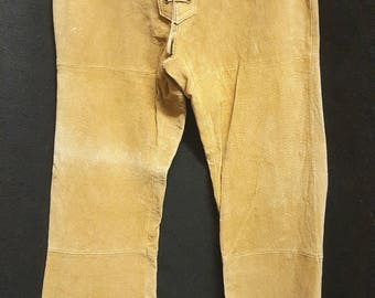Women's Vintage 70s Genuine Leather High Waisted Flare Pants Size 3, Tan