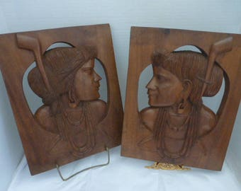 vtg MAYAN Inca Peru Peruvian Central South American Indian Aztec pair set two 2 Carved Wood Plaques Pictures Dangle Earrings / FREE SHIP usa