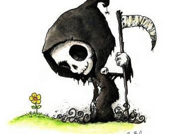 Grim Reaper and Yellow Flower Watercolor Print