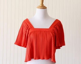 Vintage Peasant Top Crop Top Butterfly Sleeve Red Blouse 70's Women's Size Small Extra Small Bohemian Clothes