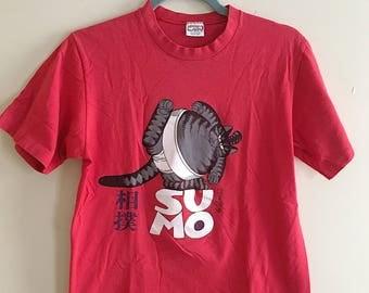 Retro 80s Sumo Wrestling Cat Graphic T-Shirt