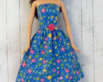Barbie Clothes, Handmade, Blue and Pink, Floral Dress, Party Dress, Modest Barbie, Fashion Doll Clothes, Blue Barbie Dress, Doll Dress