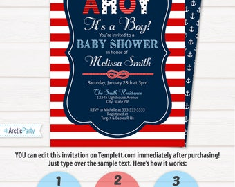 nautical baby shower invitations nautical invitation nautical shower edit at home now with