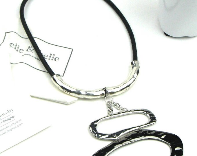 Bold Statement Necklace in Charcoal Gray Mokuba Cord, Antiqued Silver Tone Tube Beads and Silver Tone Metal Pendant