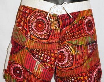 1960s Hawaiian Bark Cloth Board Shorts Sz M Vintage Retro Surf