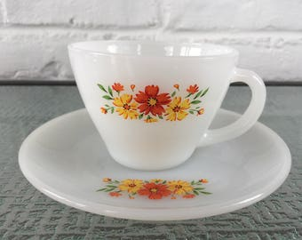 Fire King Spring Wreath Cup and Saucer Set
