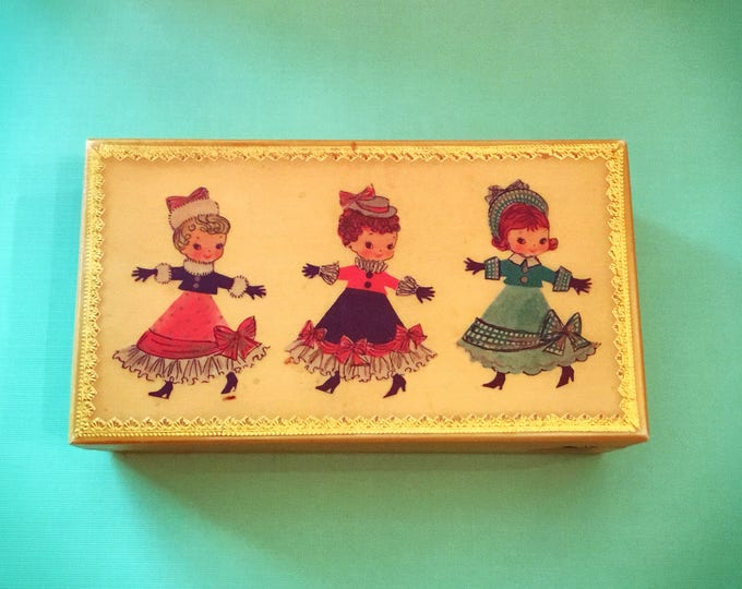 ADORABLE Mid Century TRINKET JEWELRY Box Wooden Christmas Decor