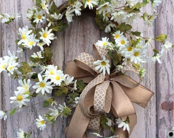 Daisy wreath, spring flower wreath, summer wreath, front door wreath, door wreaths, double door wreath, door wreath, summer wreaths
