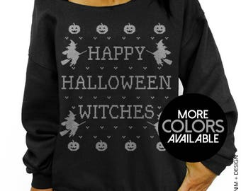 Happy Halloween Witches, Halloween Sweatshirt, Off the Shoulder, Oversized, Slouchy Sweatshirt, Halloween Costume, Women's Clothing, Witch