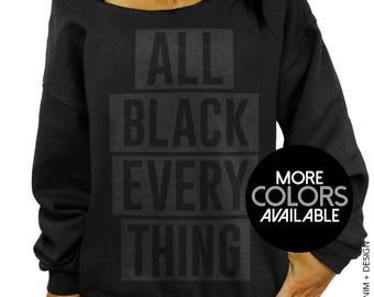 All Black Everything, Women's Sweatshirt, Off the Shoulder, Oversized, Slouchy Sweatshirt, Black Sweater, Black on Black, Matte Black