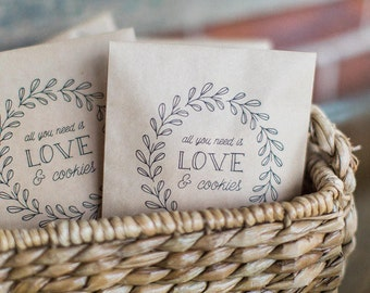 50 Cookie Favor Bags - All you need is love - Wedding Paper Bags