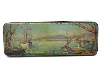 Vintage Tin Box with Sailing Boats. Shabby French Candy Box with Coastal Decor. Cavaillon Melon Sweet Souvenir Box.
