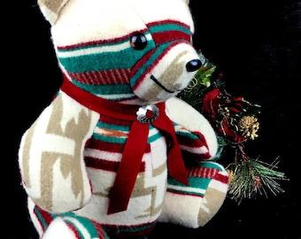 Navajo Textiles 100% Wool Stuffed Bear