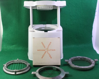 Vintage Popeil Brothers Veg-O-Matic Food Preparer with special order wedge attachment cutter