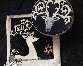 Mystic Reindeer - hand painted Elk skin - travel size - custom mini shaman drum rattle w/ pouch - power animal
