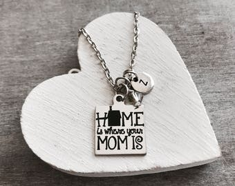 Home is where, your mom is, Mom Jewelry, Mom Necklace, Gifts for mom, Mom Gift, SIlver Necklace, Silver Jewelry, Keepsake, Moving away