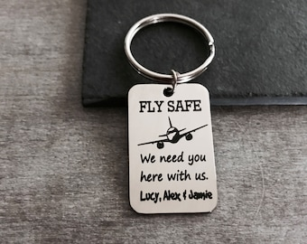 FLY SAFE, Flight Attendant, Aviator, Pilot, Aeroplane, Plane, Dad, gift for, Personalized, customized, Stainless steel, Keychain, Gifts for