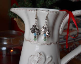Mittens Earrings - Aquamarine and Aventurine Earrings with MItten Charm