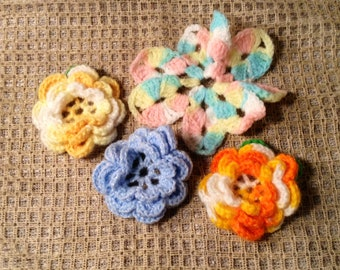 4 Vintage Hand Crochet Flowers - Handmade Roses, Rosettes - Orange, Pink, Blue - Sew On Embellishments, DIY Crafts - Easter, Springtime