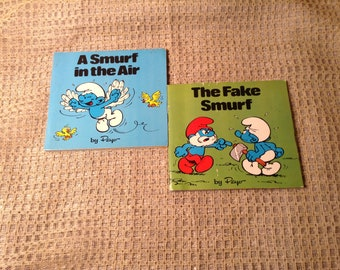 "Set of 2 1980s Smurf Books - ""Smurfs In the Air"" & ""The Fake Smurf"" by Peyo - Small Paperback Childrens Cartoon Book"