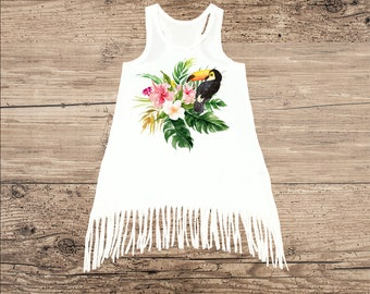 Tropical Summer Dress with Fringe, Toucan