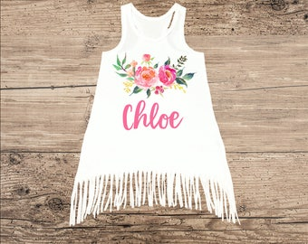 Personalized Summer Dress with Pretty Pink Flowers