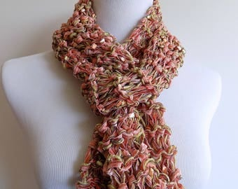Knit Scarf - Lightweight Ribbon Scarf - Coral Green and Gold Fashion Scarf - Multistrand Year Round Airy Knit Scarf - Multicolor Knit Scarf