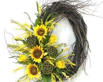 Sunflower Wreath, Sunflowers, Summer Wreath, Summer Decor, Fall Wreath, Fall Floral, Sunflower Door Decor, Birch Wreath, Fall, Lotus Pods