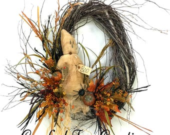 Halloween Wreath, Ghost Wreath, Fall Wreath, Fall Door Decor, Prim, Halloween, Fall, Ghost, Halloween Door Decor, Birch Wreath, Fall Wreaths