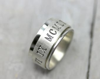 Rotary Ring Ring Roman numerals 925 silver 11mm wide, band with engraving date, silver ring with font