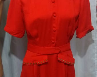 Red rayon crepe studded dress