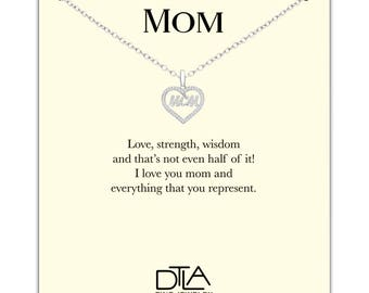 DTLA Mom Necklace in Sterling Silver with Loving Mother Message Card Gift - Styled Mom In Heart